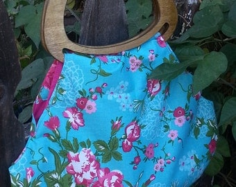 Wooden Handled and Floral Purse