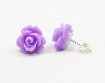 Purple Resin Rose Earrings - Sterling Silver - 10MM - Stud Earrings - Flower Earrings - Resin Earrings - Gift