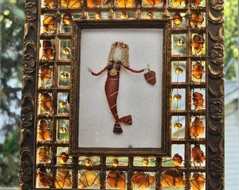 Sea Glass Frame with Brown and Amber Sea Glass and Sea Glass Mermaid Photo Art
