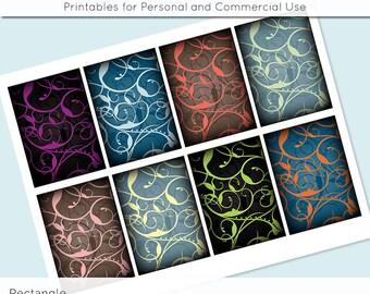 "Digital Collage Sheet Elegant Swirls 2.5"" x 3.5"" for Gift Tag Jewelry Holders Scrapbooking Cardmaking Digital Collage Sheet Images"