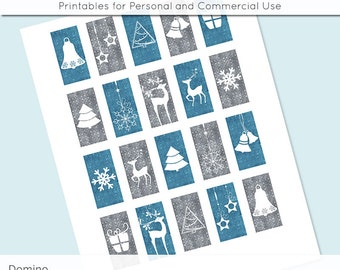 Christmas Blue and Grey 1x2 Domino Collage Sheet Digital Images for Glass and Resin Pendants Magnets Paper Craft JPG D0020