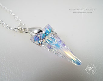 Spike Pendant Crystal Necklace ·Swarovski Crystal · Spike Pendant Crystal AB · Silver Plate Rolo Chain · Bridal · Wedding · Gift for Her