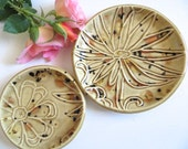 Trinket dish, Set of 2 ring holders, jewelry tray, Safari speckled Glaze, In Stock