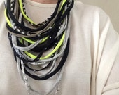 upcycled t-shirt / fabric multi-strand necklace / scarf