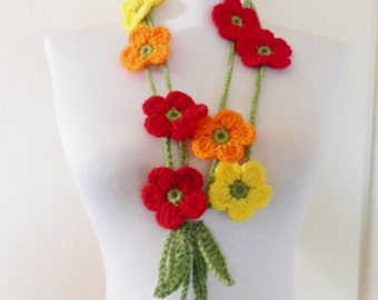 Handmade  Crochet  Multi color   Flowers    Lariat,Scarf,Scarflett,Necklace,Gift,Fiber art, Mix