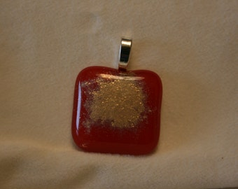 Dichroic Fused Glass Pendant - Red and Gold Combo #0096