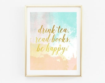 book lover gift, tea gifts, art print, gallery wall prints, tea lover, book worm, wall art, library sign, library decor, library wall art