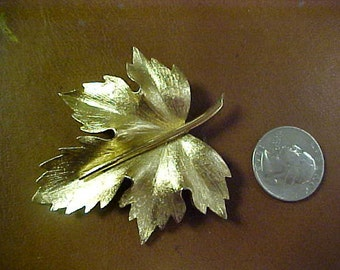 Signed (Boucher) gold tone leaf brooch