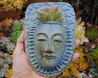 ceramic face planter garden art mask wall planter buddha wall pocket