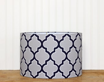 Grey Drum Shade, Quartefoil Lamp Shade, Navy and Grey Lamp Shade, Modern Drum Shade, Geometric Lamp Shade, Gray, Boys Drum Shade, Lamp Shade
