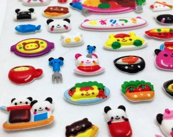 Cute puffy Japanese sticker - Panda Food fun - Kawaii and adorable