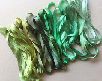 12 metres of 7mm solid colour silk ribbon