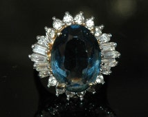 Huge Fabulous Fake Cocktail Ring, Travel Jewelry, Glass Sapphire, Cyrstal Rhinestones, 18K H.G.E. A Hallmark, Sz 8.75, Excellent Condition