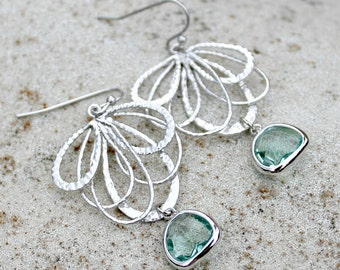 Chandelier Earrings - Silver, Wedding Jewelry, Bohemian, Aqua, Jewel, Crystal, Dangle Earrings
