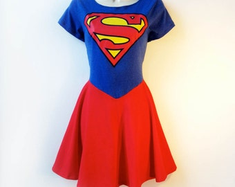 Superman Dress // Supergirl Dress // Superhero Comic Con Nerd Girl Costume MADE TO ORDER