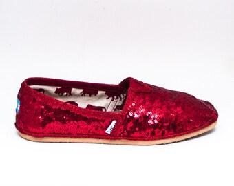Tiny Sequin   Red Alpargata Canvas Classics Slip On Shoes