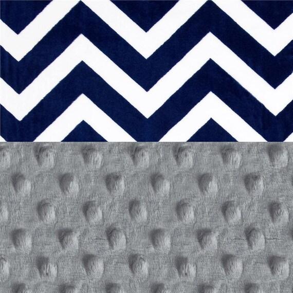 Crib Bedding Boy Baby Minky Blanket / Gray Blue Chevron Baby Blanket  Kids Minky Blanket / Baby Shower Gift  Personalized Gift  Name Blanket