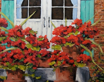 Géranium on the Porch - Original oil painting - created by Prankearts