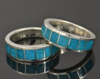 Birdseye Turquoise Wedding Ring Set in Sterling Silver, Turquoise Wedding Set, Turquoise Ring Set
