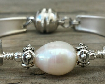 Gorgeous Art Deco Antique Spoon Bracelet With Pearl