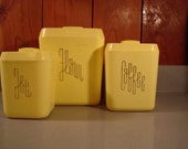 Vintage /Yellow lustro ware Canisters / Set of 3  1950s  Flour/ Coffee/ Tea