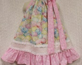 Girls Easter Dress 2T/3T Pink Easter Eggs Handmade Boutique Pillowcase Dress Pillow Case Dress Sundress
