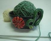 Ceramic Yarn Bowl-Red Flower Yarn Bowl