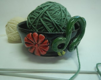 Ceramic Yarn Bowl-Red Flower Yarn Bowl