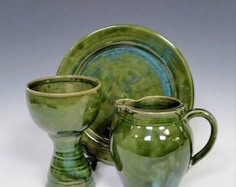 Chalice,Flagon and Paten Ceramic Communion Set Blue Green
