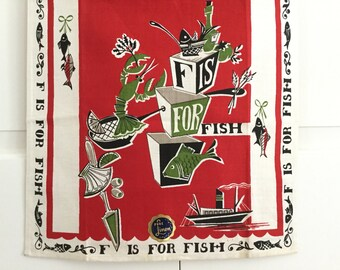 Vintage Tea Towel F is for Fish Kitchen Decor Linen Textile Lobster