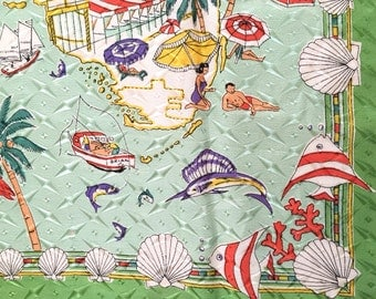 Vintage Florida Scarf Souvenir State Map Pink Flamingoes Fish Seashells Swimmers