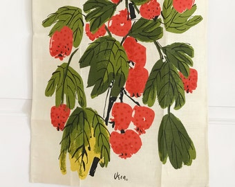 Vintage Vera Tea Towel Pomegranates Fruits Kitchen Wall Decor Christmas Holiday Decoration