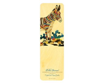 Dolan Burro Wood Bookmark - A Collaboration with Mixed Media Artist Dolan Geiman - Real Birch Wood Bookmark - WM2126