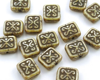 Decorated Rustic Beige Picasso Rectangle Tile Czech Glass Beads 12mm x 11mm  - 15