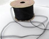 Vintage French Silk Ribbon Jet Black Organza Sheer Chiffon Morell France 3/16 inch rib0217 (2 yards)