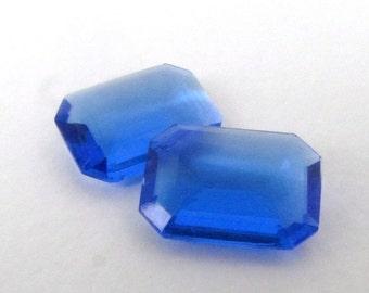 Vintage Rhinestone Glass Jewel Sapphire Octagon Transparent 18x13mm rhs0609 (2)