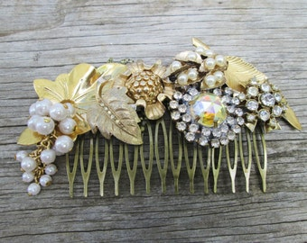 Bridal Gold Pearl Hair Comb,  Antique Vintage Brooch Hair Comb Collage Assemblage