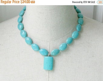 SALE Turquoise Howlite Necklace Petite Chunky Blue
