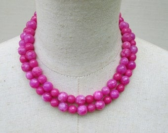 Fuschia Hot Pink Double Strand Beaded Necklace,Ombre Layered Beads
