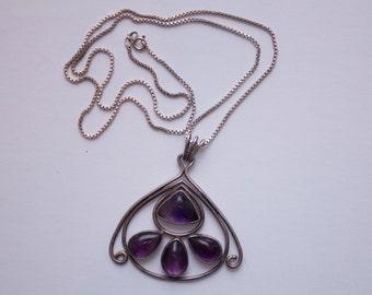 amethyst & silver long pendant necklace
