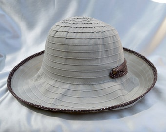 Travel Hat / Foldable Ribbon Hat / Fabric Sun Hat / Packable Hat / Tan Fabric Hat / Womens Sun Hat / Vacation Hat / Beach Hat