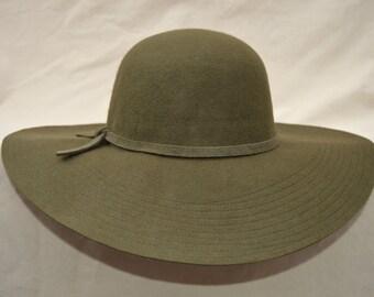 Olive Green Wool Felt Large Brim  Hat / Womens Floppy Wide Brim Winter Hat / Boho Wide Brim Olive Green Felt Hat