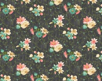 SALE  Village Garden by Kaye England for Wilmington Fabrics Small Floral on Dk Grey 1 yd YES!! Continuous fabric cuts and combined shipping