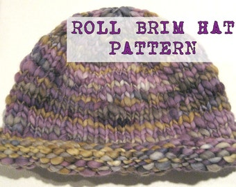 Wicked Easy 38 Row Knit BULKY Roll Brim Hat Pattern,  Handspun Yarn, Adult Sized Hat Pattern, Chunky Knit hat, Chunky cap, chunky hat