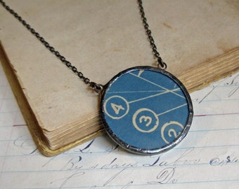 Vintage Industrial Blueprint Necklace Glass Upcycled Jewelry