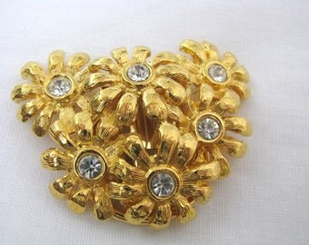 Gold tone heart and flowers scarf clip scarf ring