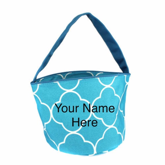 Bucket Tote Monogrammed Small Turquoise Quatrafoil