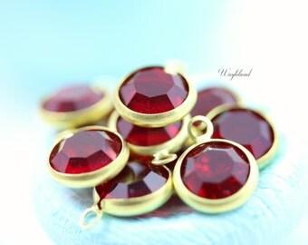 Siam Red 8mm Vintage Round Swarovski Stone 1 Ring Brass Channel drops - 4
