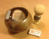 woodfired  glazed Stoneware mens shaving bowl Life is Better