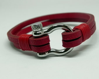 Red Leather Wrap Bracelet Leather Bracelet Leather Cuff with Stainless Shackle Clasp